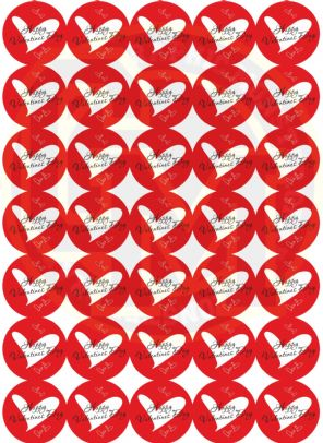 Valentines Red Heart Stickers 37mm Round Matt Paper